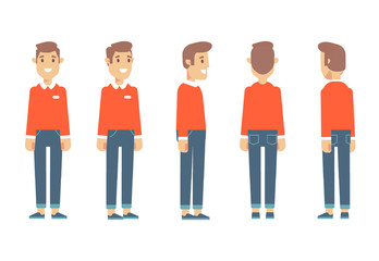 Young man for animation. Front, side, back, 3/4 view character. Separate parts of body. Cartoon style, flat vector illustration.