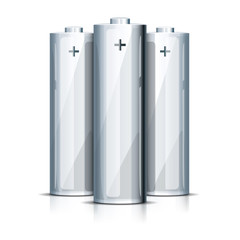 AA Battery Standing on White