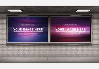Two Billboards in a Subway Station Mockup