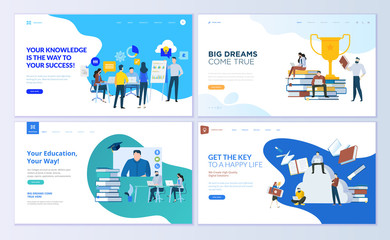 Set of web page design templates for staff education, consulting, college, education app. Modern vector illustration concepts for website and mobile website development.