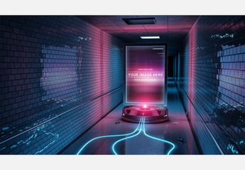 Glowing Billboard in an Underground Tunnel Mockup