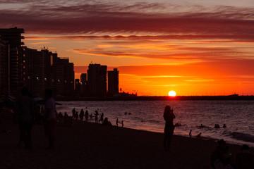 Sunset over beach city