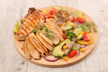 barbecue chicken and vegetable