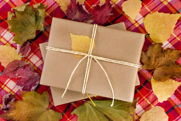 Top view on a gift boxes wrapped of craft paper and white ribbons with dry colorful leaves, on a red checkered towel. Autumn still life.