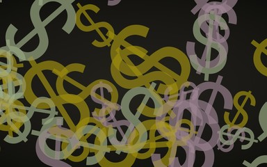 Multicolored translucent dollar signs on dark background. Orange tones. 3D illustration