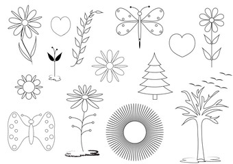 Series of natural illustrations of the summer themes of the meadows and gardens for the web or for print in coloring pages. Format vector and jpg.