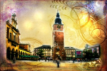 Old city Cracow art illustration retro vintage
