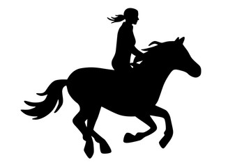 Reiterin auf galoppierendem Pferd / schwarz-weiß, Vektor, freigestellt