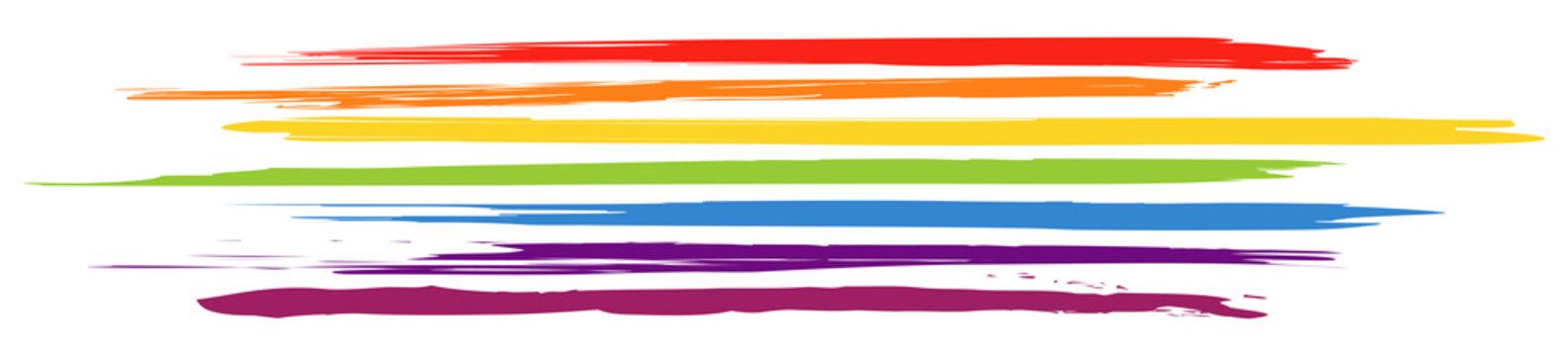 Header mit horizontalen, farbigen Pinselstrichen in Regenbogenfarben / Vektor