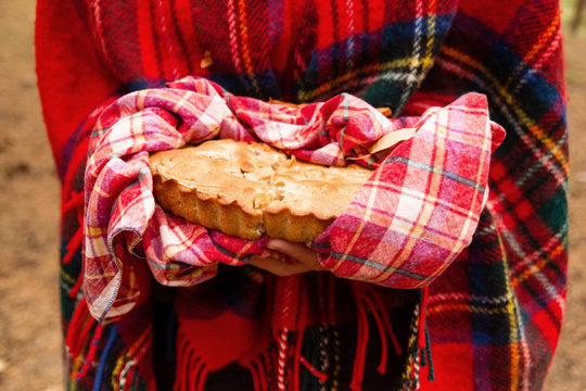 Woman in red Scottish plaid is holding apple pie on red checkered towel in autumn forest.
