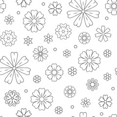 Seamless pattern with outline flowers for coloring book. Beautiful floral background for color artwork. Monochrome backdrop, summer flower drawing. Colouring line illustration.