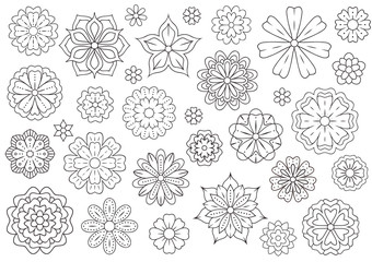 Outline doodle flowers for adult coloring book. Beautiful floral background for color artwork. Monochrome zentangle backdrop, summer flower drawing. Colouring line illustration.