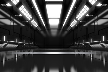 Futuristic tunnel with light. Black Spaceship corridor interior view.Future background, business, sci-fi or science concept. 3D Rendering.