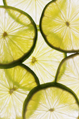 Slices of fresh lime background.