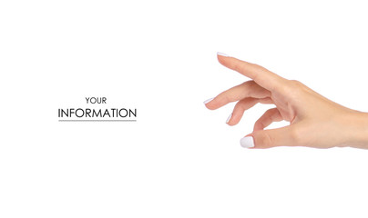 Female hands showing finger pattern on a white background isolation