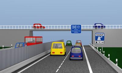Autobahn mit bunten Autos und Verkehrsschilden Autohof und Autobahnkreuz.