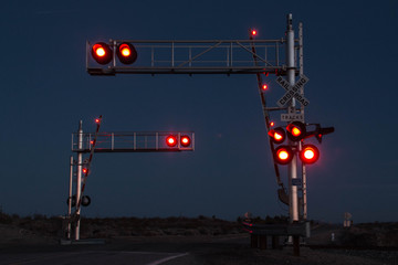 Red Lights at Railroad Crossing