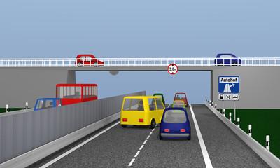 Autobahn mit bunten Autos und Verkehrsschilden Autohof und tatsächliche Höhe. 3d rendering