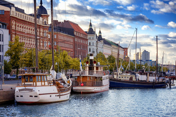 Printed roller blinds Europa Beautiful cityscape, Helsinki, the capital of Finland, view of the embankment with boats and houses, travel to Northern Europe