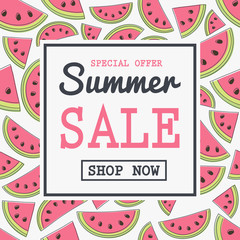 Summer Sale - poster with hand drawn watermelons. Vector.