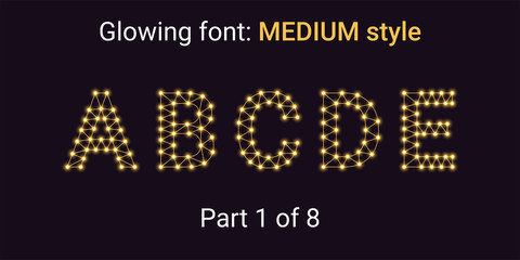 Golden Glowing font in the Outline style