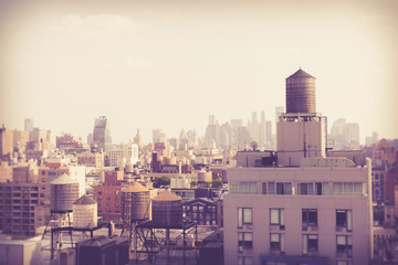 Wall Mural - New York City Manhattan cityscape of buildings with vintage retro tone filter