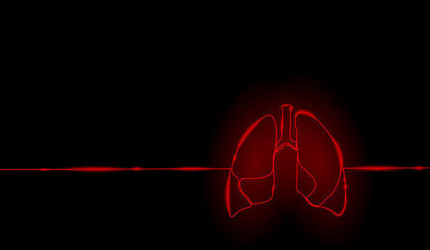 Single continuous line art anatomical human lungs silhouette. Healthy medicine against smoking concept design world no tobacco day neon red tuberculosis one sketch outline drawing vector illustration