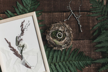 wedding rustic boutonniere and wedding rings in bird nest on wooden background with fern leaves. rustic barn wedding concept. top view. flat lay