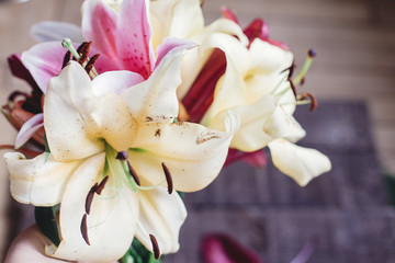 beautiful colorful lily flower bouquet on rustic wooden background. gorgeous bloom lilies on rustic wood backdrop. space for text. greeting card. spring holiday, woman mother day