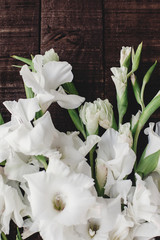 beautiful white gladioluses on rustic wooden background top view. stylish gladioli on rustic brown wood, space for text, holiday greeting card. floral flat lay, spring image