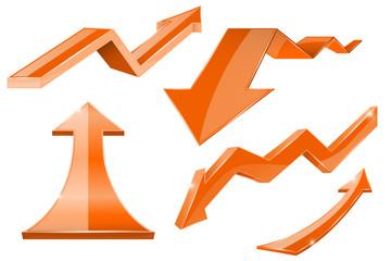 Orange arrows. 3d shiny set of icons