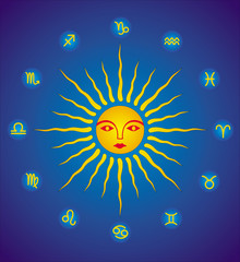 The sun is the image of man. Face in halo of rays. Image of sun. Colorful colorful symbol. Vector graphics