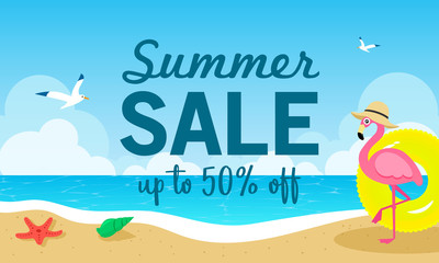 Summer sale banner vector illustration. Flamingo on the beach. Timeshare Vacation Promotions.