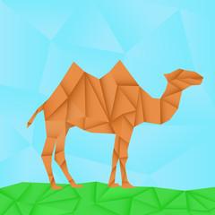 Camel. Polygonal origami like vector illustration