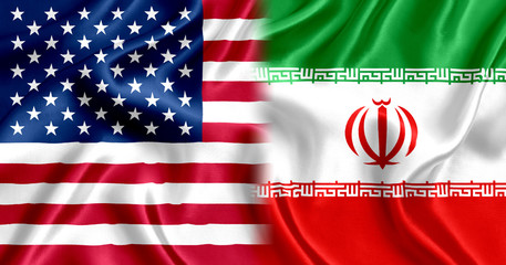 Flag of Iran and US silk