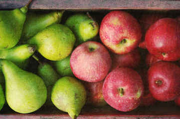 Ripe green pears and red apples in a wooden box with grunge texture, top view. Autumn harvest of pears
