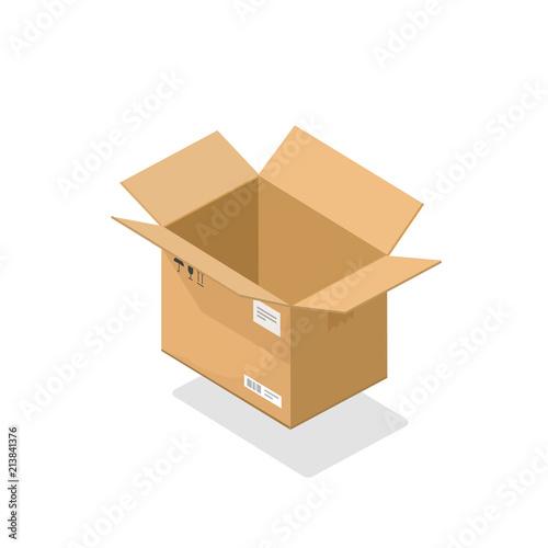 parcel open vector illustration cartoon 3d isometric cardboard box
