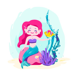 Little cute mermaid sitting on a rock. Siren with fish, coral, shellfish, seaweed. Sea theme