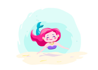 Little cute mermaid swimming under water. Character cool design. Sea ocean theme. Vector illustration