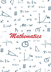 Mathematics School subject with hand-draw doodles. Education banner. Vector illustration.