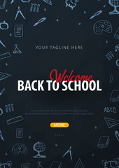 Back to School background with hand-draw doodles. Education banner. Vector illustration.