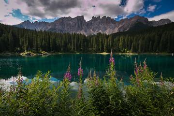 Splendida veduta del lago di Carezza in Val d'Ega, Alto Adige