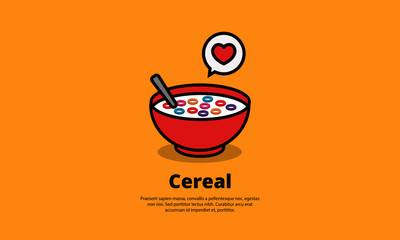 Cereal Bowl with Smiley Face Vector Illustration