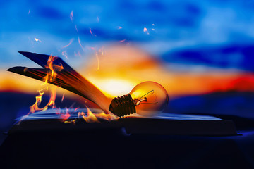 the lamp rests on an open book, knowledge is light, the book is on fire.
