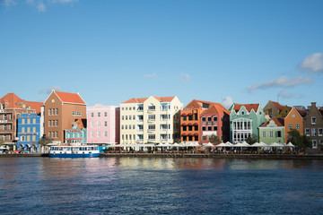 Colorful Colonial Houses in Willemstad, Curacao Wall mural