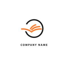 Vector open book logo. Education concept for design template. School, university, college icon.