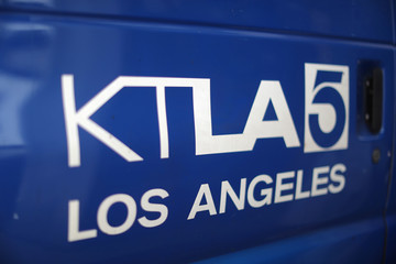 A Tribune Broadcasting Los Angeles affiliate KTLA 5 television satellite truck is seen in Hollywood, Los Angeles