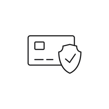 line secure payment icon on white background