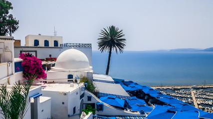 Tuinposter Tunesië Totally blue and white city Sidi Bou Said, Tunisia