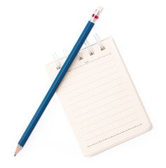 notebooks with a pencil isolated on white background